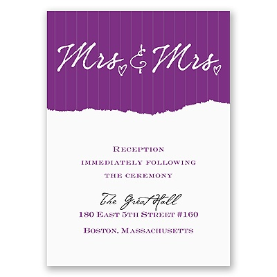Mrs. and Mrs. - Reception Card