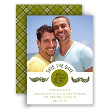 Moustaches - Moss Green - Save the Date Card