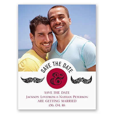 Moustaches - Merlot - Save the Date Card