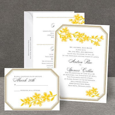 Fresh Flowers - Citrus - All in One Invitation