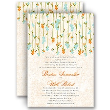 Trailing Blossoms - Aqua - All In One Invitation