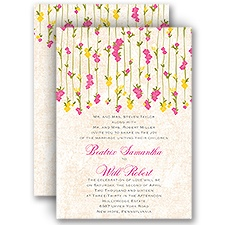 Trailing Blossoms - Posie Pink - All In One Invitation