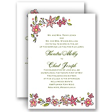 Whimsical Posies - Posie Pink - All in One Invitation
