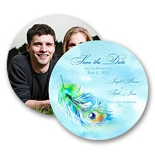 Watercolor Peacock - Save the Date Card