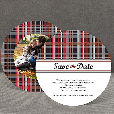 Mad About Plaid - Black - Save the Date Card