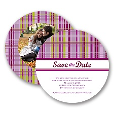 Mad About Plaid - Lavender - Save the Date Card