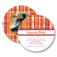 Mad About Plaid - Poppy - Save the Date Card