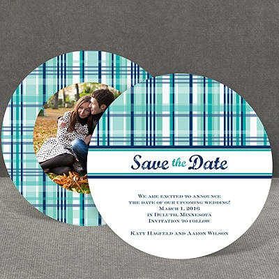Mad About Plaid - Peacock - Save the Date Card
