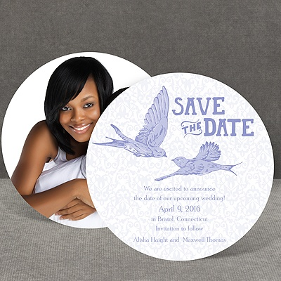 Damask Lovebirds - Orchid - Save the Date Card