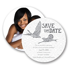 Damask Lovebirds - Pewter - Save the Date Card