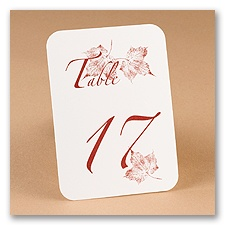 Leaf Table Number Cards