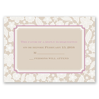 Lacy Flowers - Response Card and Envelope