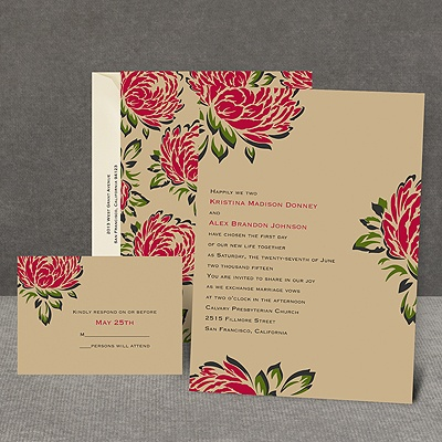 Vintage Peonies - Invitation