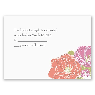 Whimsical Poppies - Response Card and Envelope