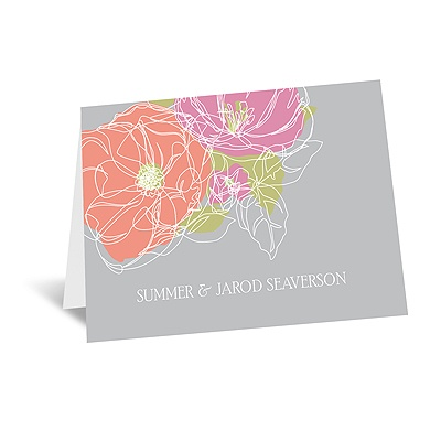 Whimsical Poppies - Note Card and Envelope
