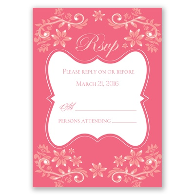 Frosted Flowers - Posie Pink - Response Card and Envelope