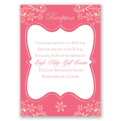 Frosted Flowers - Posie Pink - Reception Card