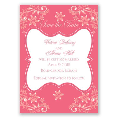 Frosted Flowers - Posie Pink - Save the Date Magnet