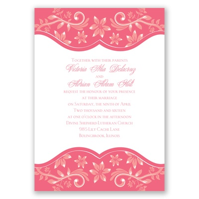 Frosted Flowers - Posie Pink - Invitation