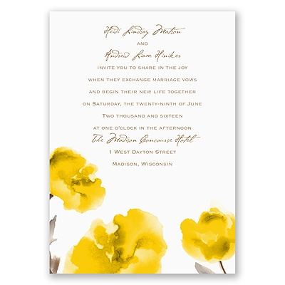 Painted Posies - Canary - Invitation