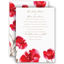 Painted Posies - Cherry - Invitation