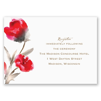 Painted Posies - Cherry - Reception Card