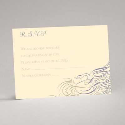 Calligraphy Swan - Response Card and Envelope