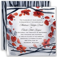 Floral Whimsy Frame - Barn Red - Invitation