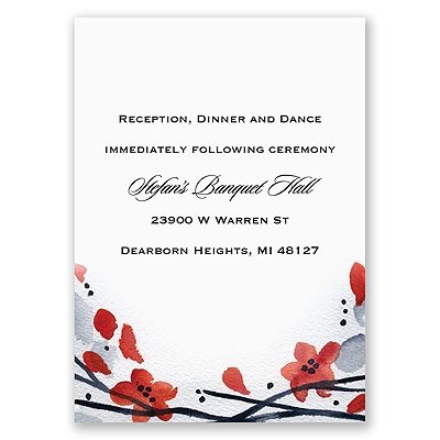 Floral Whimsy Frame - Barn Red - Reception Card