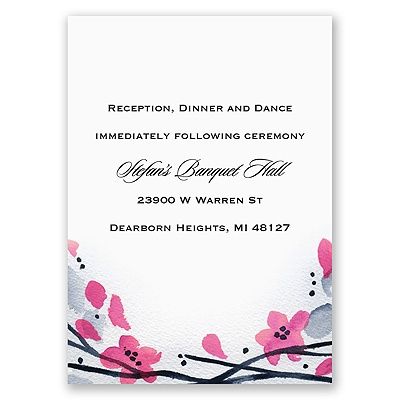 Floral Whimsy Frame - Fuchsia - Reception Card