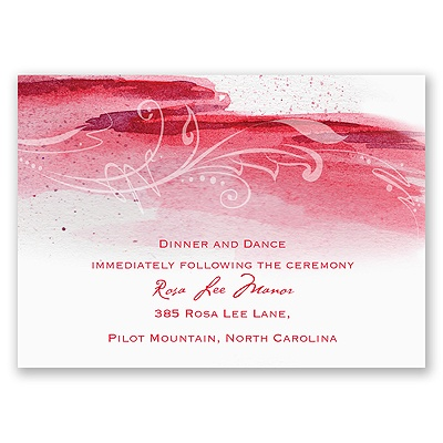 Rushing Watercolor - Cherry - Reception Card