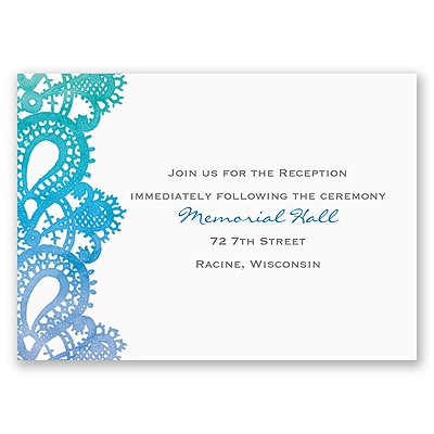 Watercolor Paisley - Fuchsia - Reception Card