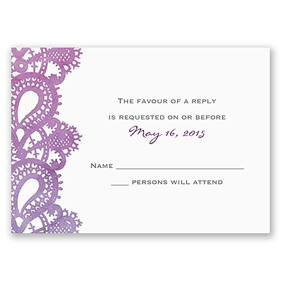Watercolor Paisley - Grapevine - Response Card and Envelope
