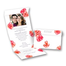 Watercolor Posies - Barn Red - Seal and Send Invitation