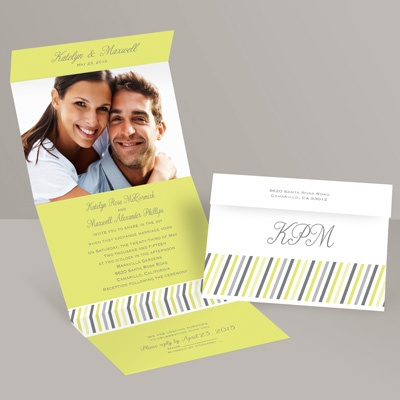 Slanted Stripes - Limelight - Seal and Send Invitation