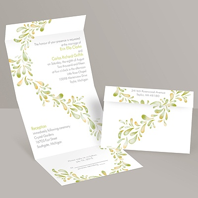 Watercolor Petals - Granny Apple - Seal and Send Invitation