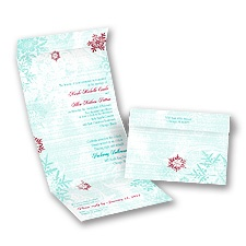 Snowflakes and Swirls - Aqua - Seal and Send Invitation
