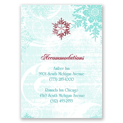 Snowflakes and Swirls - Aqua - Accommodations Card