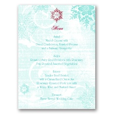 Snowflakes and Swirls - Aqua - Menu Card