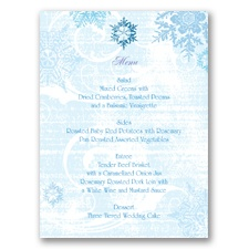 Snowflakes and Swirls - Celestial Blue - Menu Card