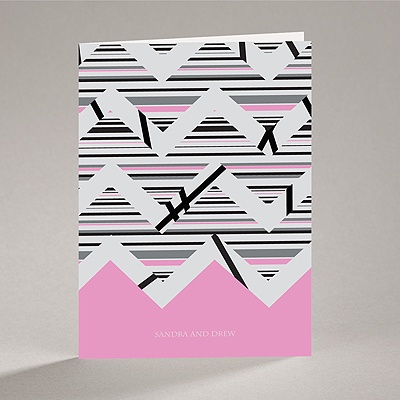 Extremely Chevron - Bubble Gum - Note Card and Envelope