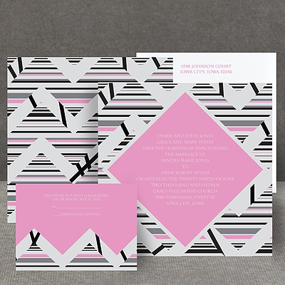 Extremely Chevron - Bubble Gum - Invitation