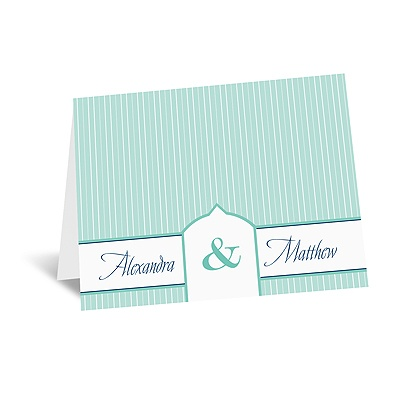 Pinstripe Monogram - Note Card and Envelope
