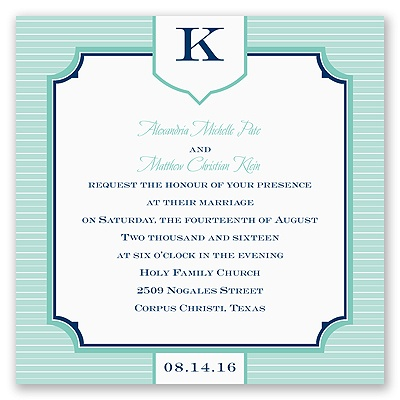 Pinstripe Monogram - Invitation
