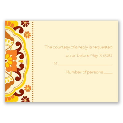 Moroccan Beauty - Citrus - Response Card and Envelope