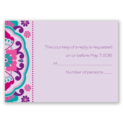 Moroccan Beauty - Fuchsia - Response Card and Envelope