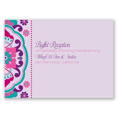 Moroccan Beauty - Fuchsia - Reception Card