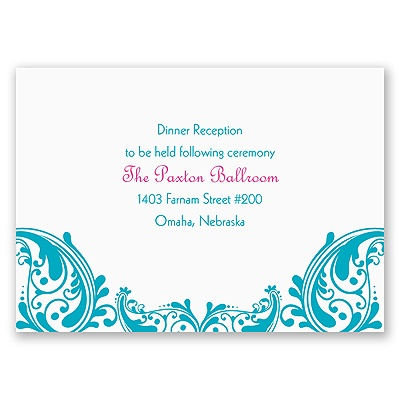Bollywood Flair - Reception Card