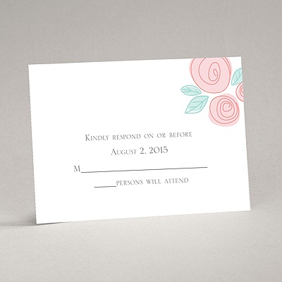 Romantic Posies - Aqua -Response Card and Envelope