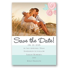 Romantic Posies - Aqua - Save the Date Magnet
